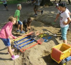 Sandkasten als Ritterburg